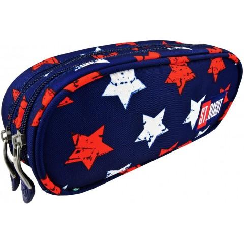 Piórnik / saszetka podwójna ST.RIGHT STARS czerwone i białe gwiazdy na granatowym tle
