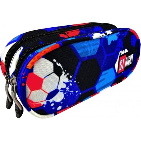 Piórnik / saszetka podwójna ST.RIGHT FOOTBALL kolorowe piłki dla chłopaka