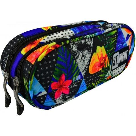 f0e95865ae77b Piórnik   saszetka podwójna ST.RIGHT PARADISE rajska wyspa kolorowe kwiaty  dla dziewczyny