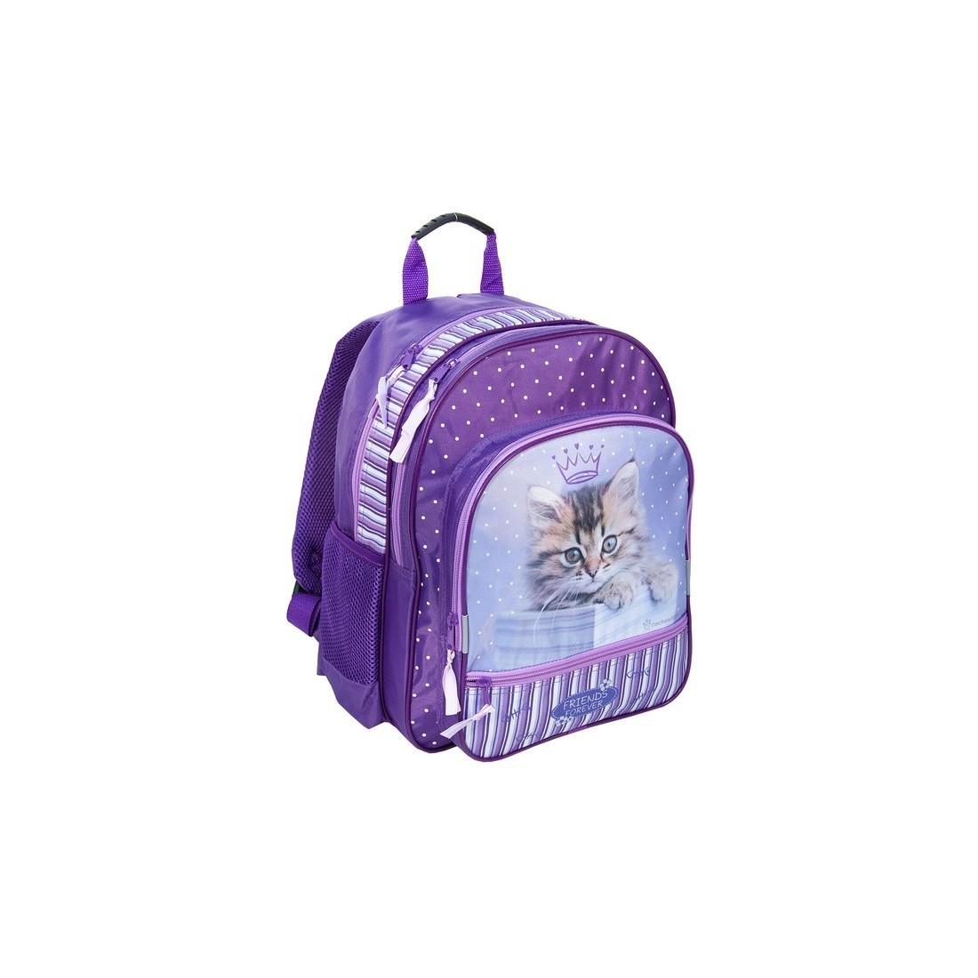 Plecak Szkolny Rachael Hale fioletowy z kotkiem - plecak-tornister.pl