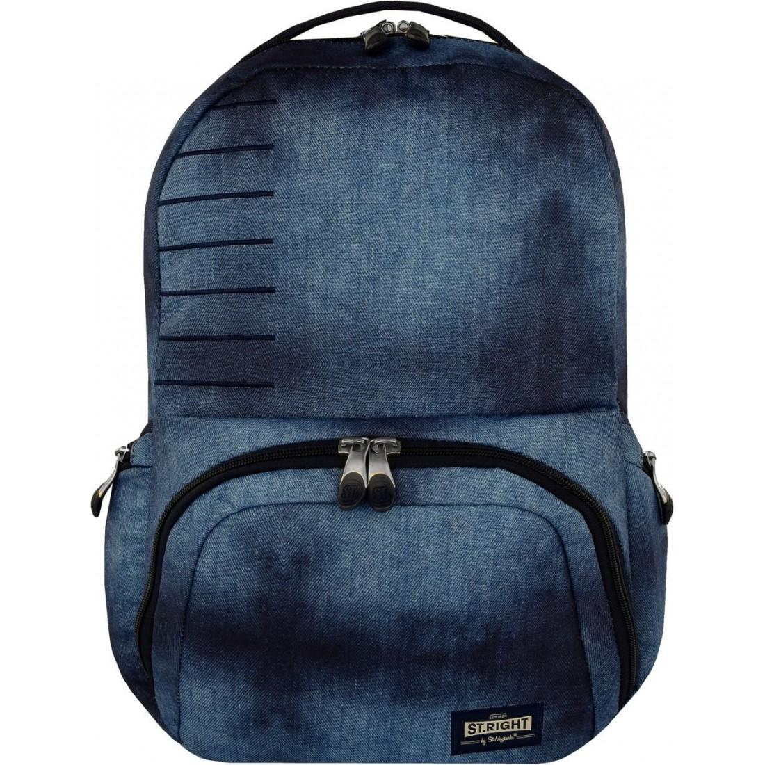 0ec29cb61c207 Plecak szkolny na laptop ST.RIGHT JEANS niebieski dżins młodzieżowy ...