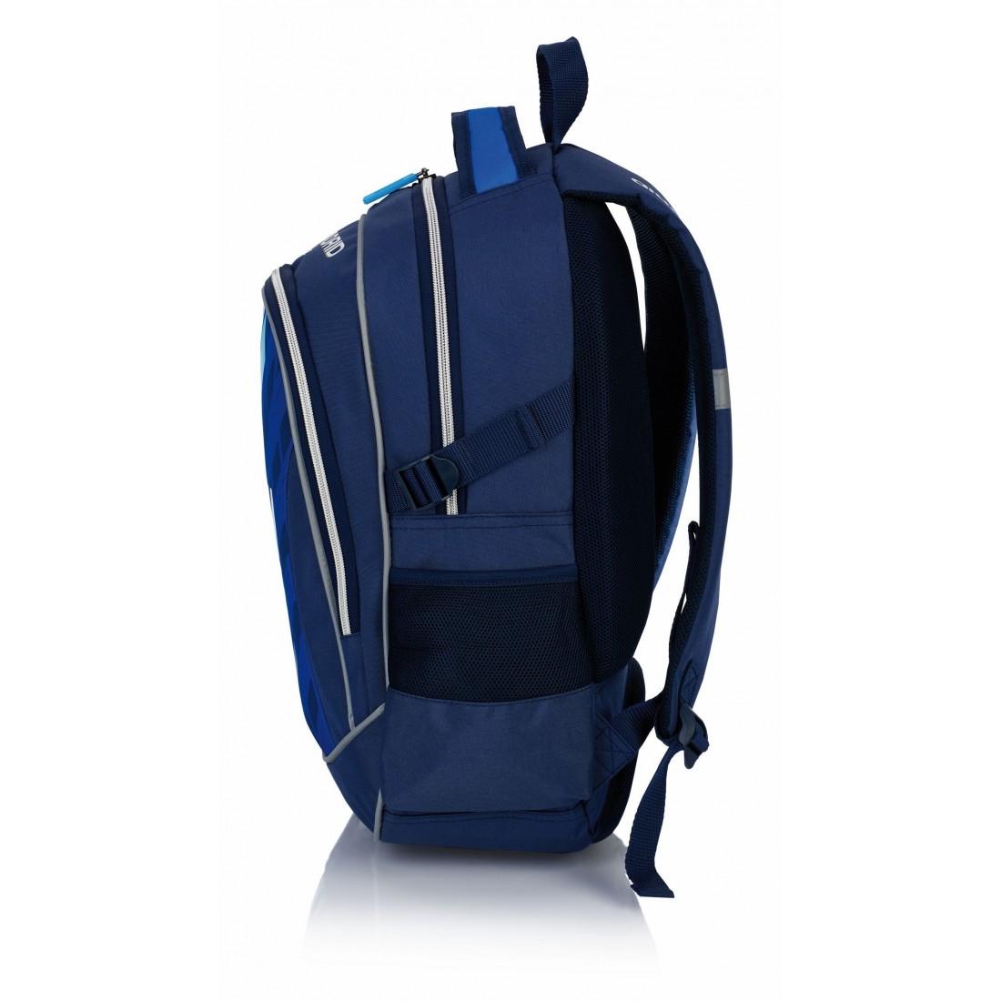 Plecak młodzieżowy Real Madryt granatowy do szkoły granatowo - niebieski - RM-122 - plecak-tornister.pl