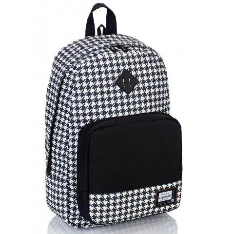 a2e7e6c348cce Plecak szkolny w pepitkę czarno-biały organizer miejski styl HEAD - HD-53 F