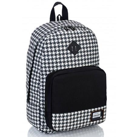 Plecak szkolny HEAD w pepitkę czarno-biały organizer - HD-53 F