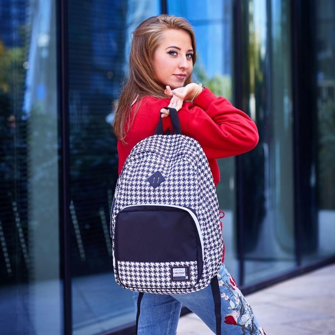 Plecak szkolny w pepitkę czarno-biały organizer miejski styl HEAD - HD-53 F