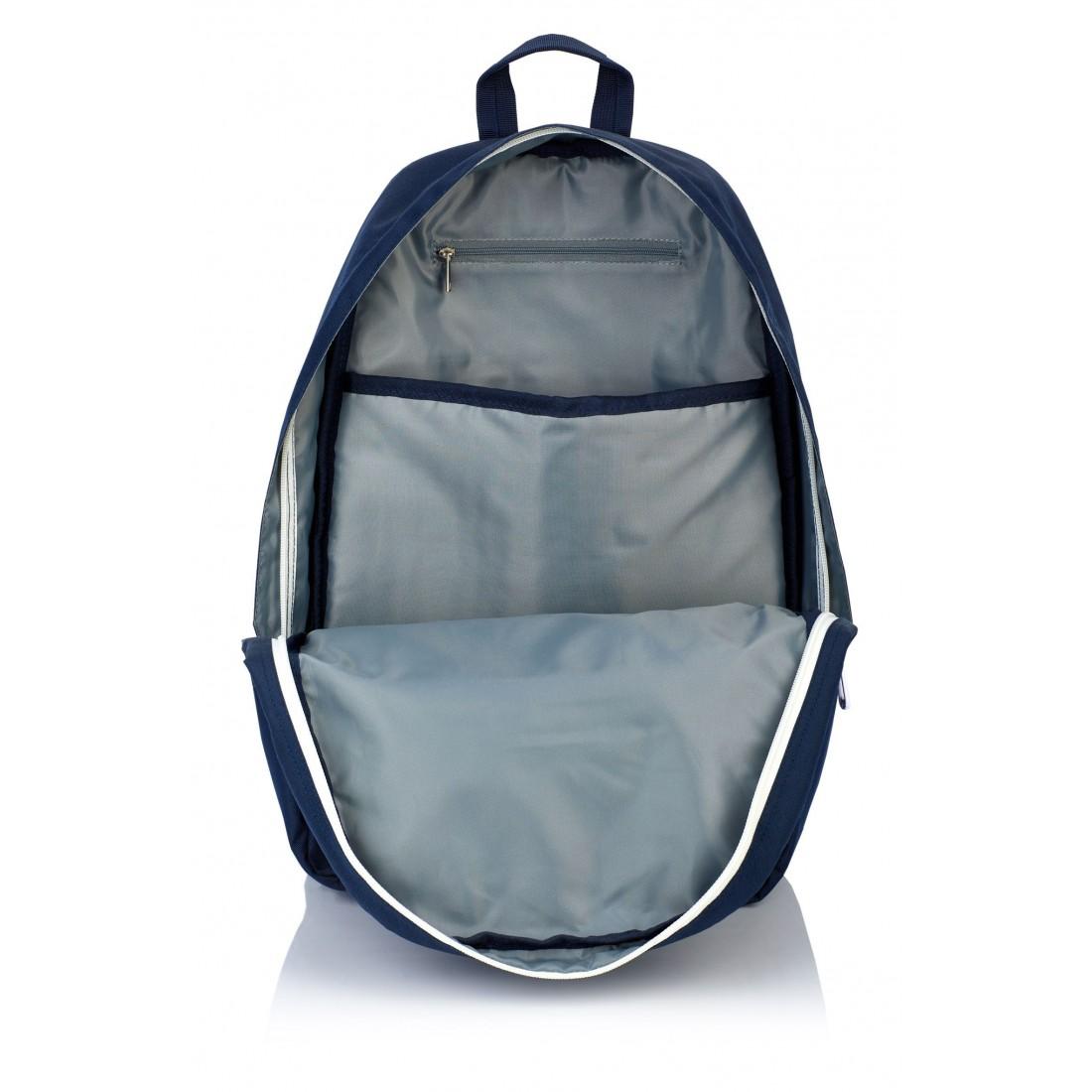 Plecak szkolny HEAD granatowy białe zamki młodzieżowy styl kieszeń na laptop