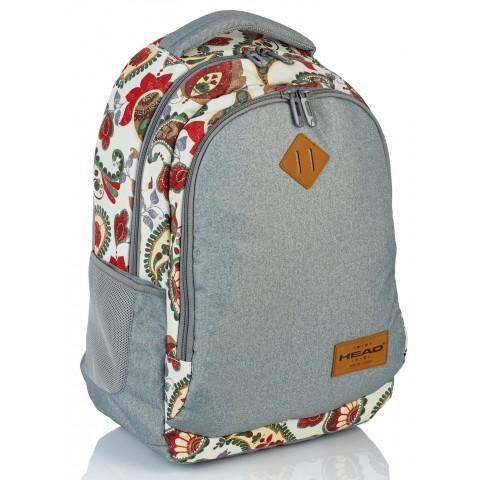 Plecak szkolny HEAD hippie i szary melanż kwiaty dla nastolatki - HD-76 B