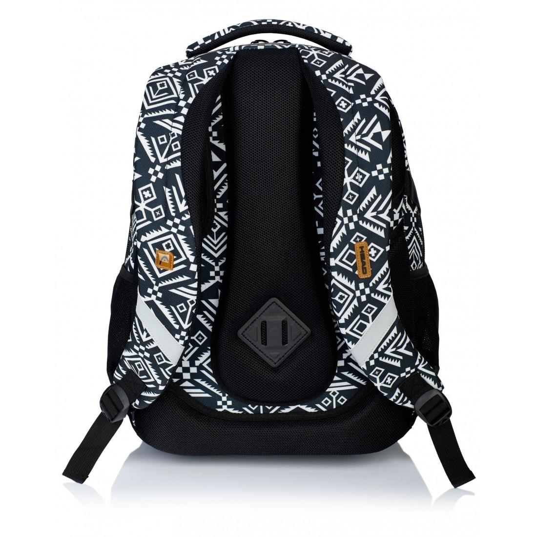 b17af8967986e Plecak szkolny aztecki, czarno-biały HD-74 D HEAD - plecak-tornister.pl
