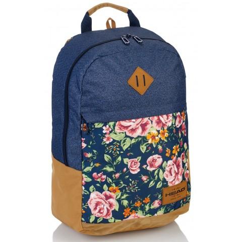 Plecak szkolny róże na granatowym jeansie HEAD