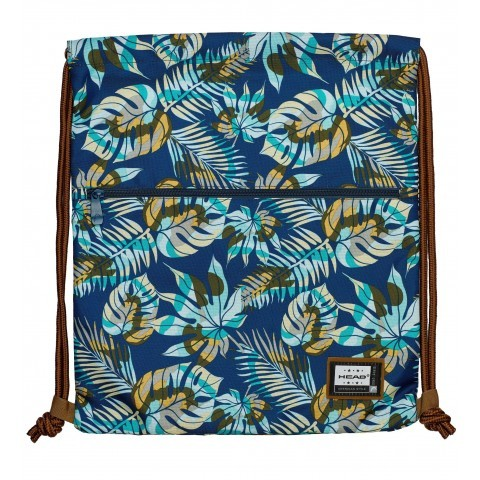 Worek na buty / plecak na sznurkach HEAD niebieska dżungla liście - HD-138