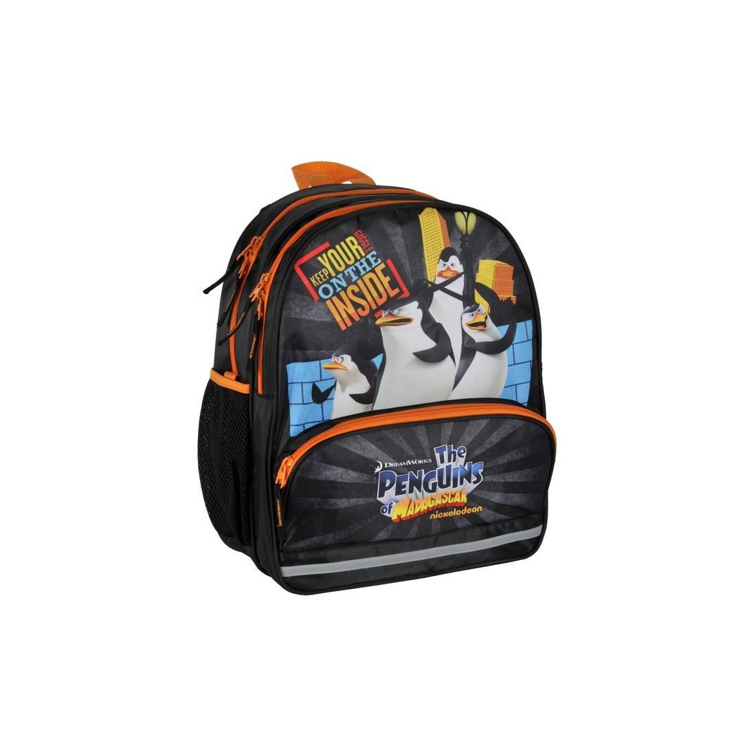 Plecak szkolny Pingwiny z Madagaskaru czarny - plecak-tornister.pl