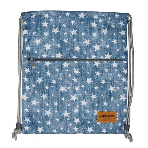 Worek na buty / plecak na sznurkach HEAD niebieski jeans w białe gwiazdki - HD-140