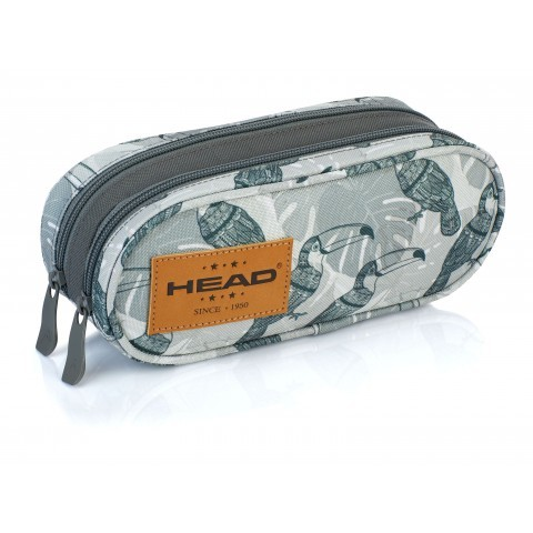 Piórnik / saszetka podwójna HEAD tukany na melanżu szary - HD-49 B