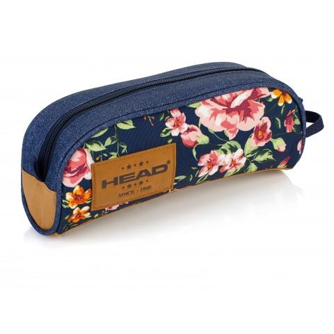 Piórnik / saszetka pojedyncza HEAD róże na granatowym jeansie - HD-46 C