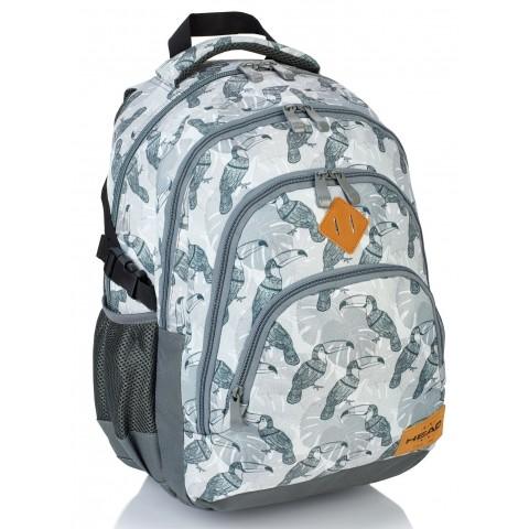 Plecak szkolny HEAD tukany na szarym melanżu - HD-48 A