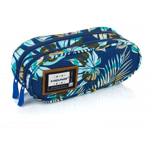 Piórnik / saszetka podwójna HEAD niebieska dżungla liście - HD-106 B
