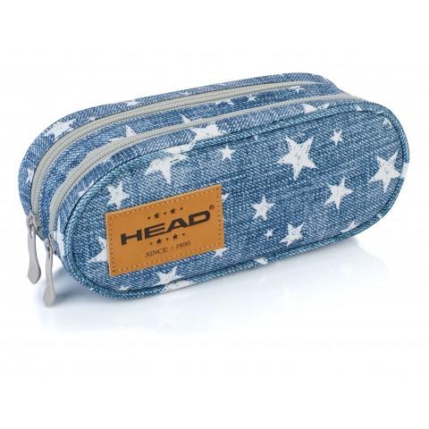 Piórnik / saszetka podwójna HEAD jeans w białe gwiazdki - HD-110 B