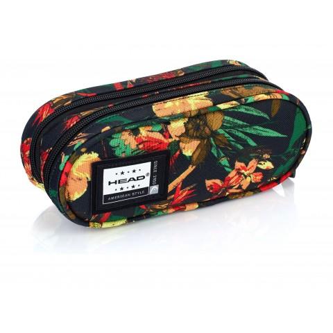 Piórnik / saszetka podwójna HEAD tropikalne kwiaty czarny - HD-114 B