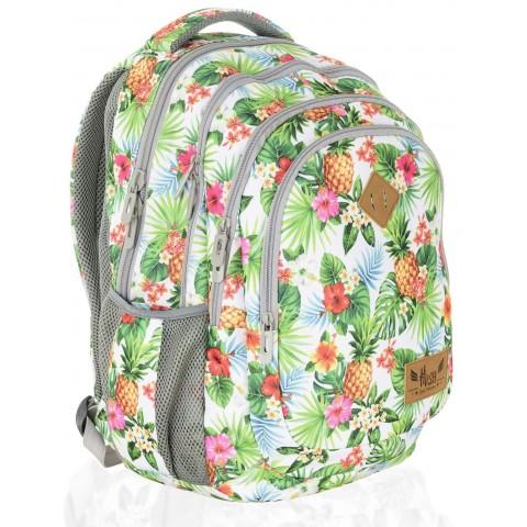 Plecak szkolny HASH ananasy i kwiaty hibiskusa - HS-07 C