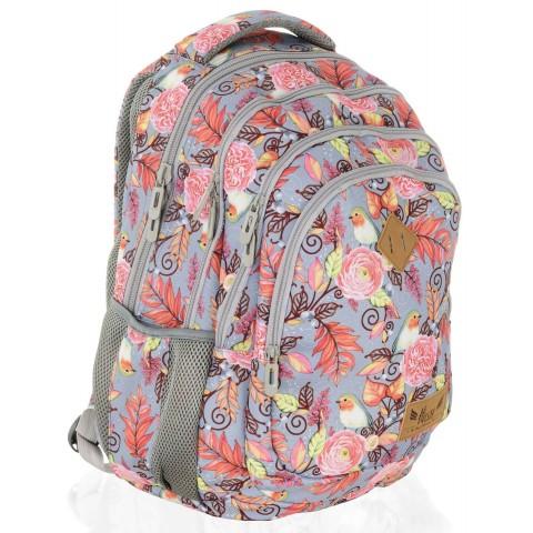 Plecak szkolny HASH rustykalny liście kwiaty - HS-11 C