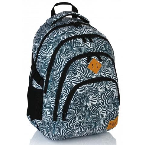 Plecak szkolny HASH czarno - biała zebra - HS-15 A