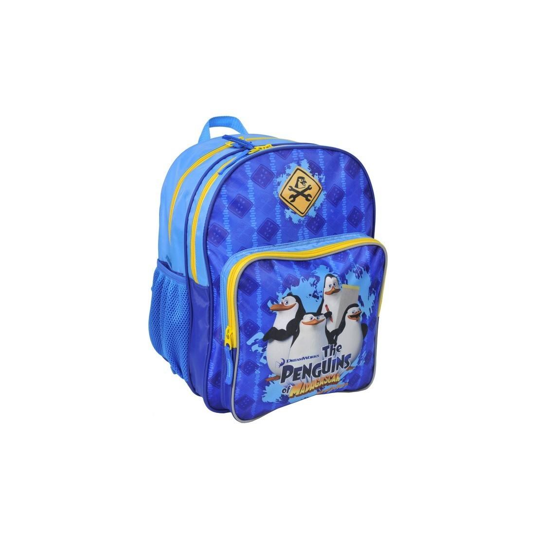 Plecak szkolny Pingwiny z Madagaskaru niebieski - plecak-tornister.pl