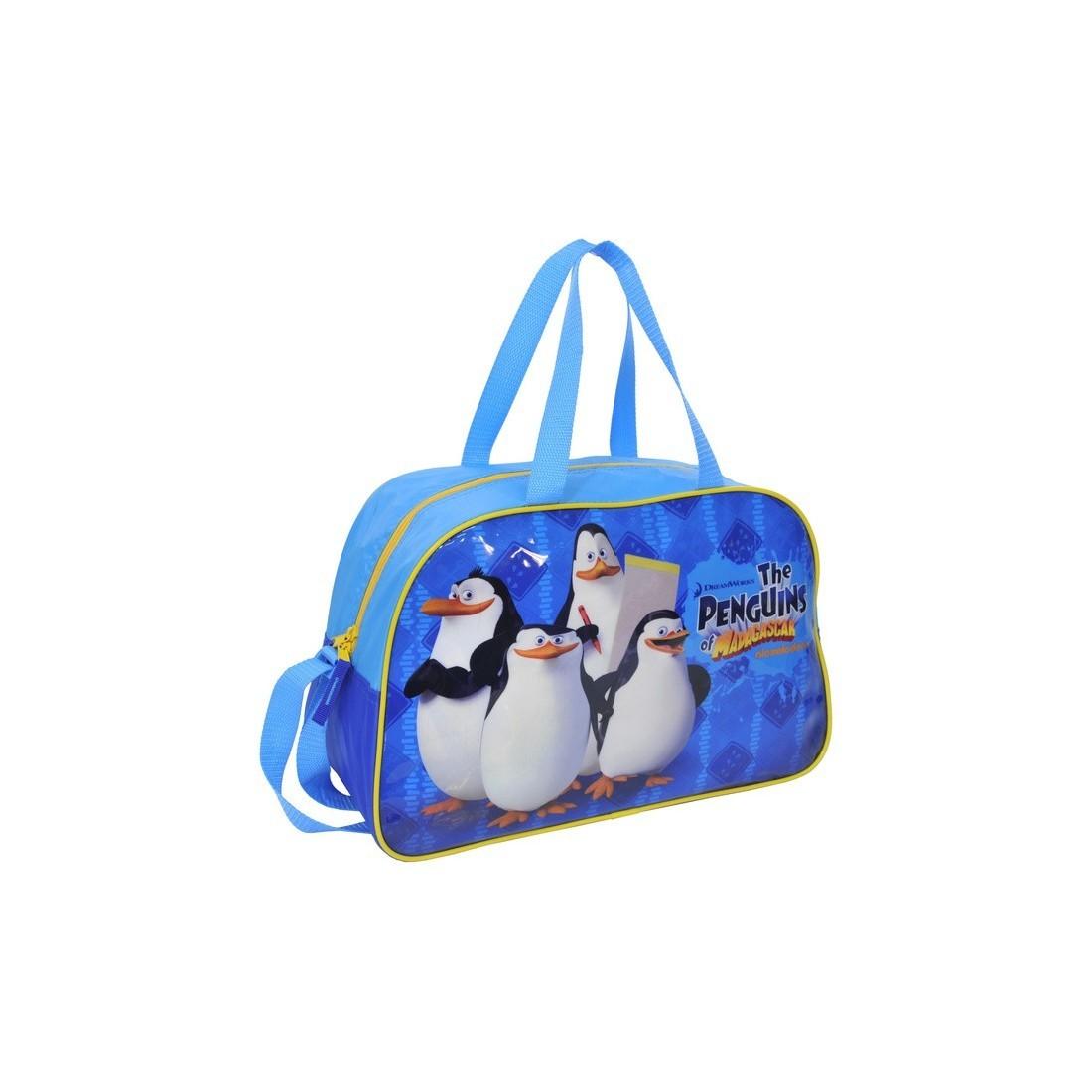 Torba sportowa Pingwiny z Madagaskaru niebieska - plecak-tornister.pl