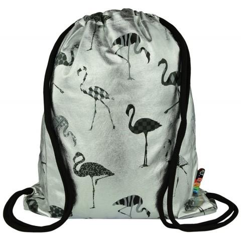 Worek / plecak na sznurkach ST.RIGHT SILVER FLAMINGO srebrny z szarymi flamingami