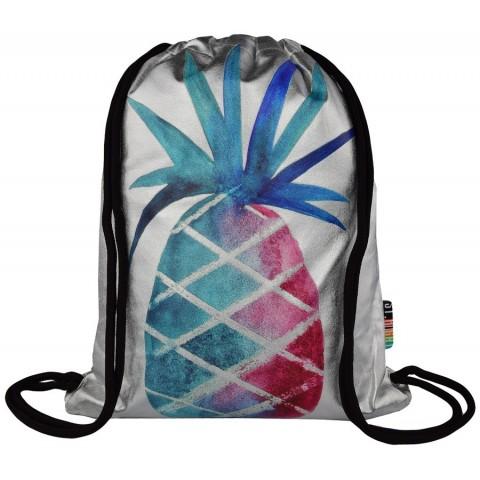 Worek / plecak na sznurkach ST.RIGHT SILVER ANANAS srebrny z kolorowym ananasem