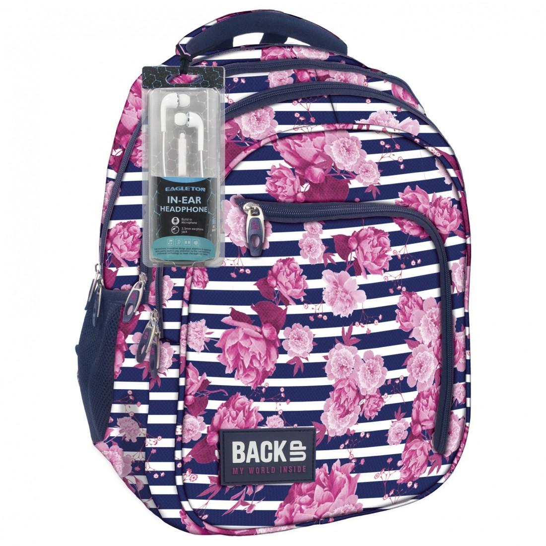 33a7916ca1615 Plecak szkolny w paski i różowe kwiaty begonie BackUP D 34 + GRATIS  słuchawki