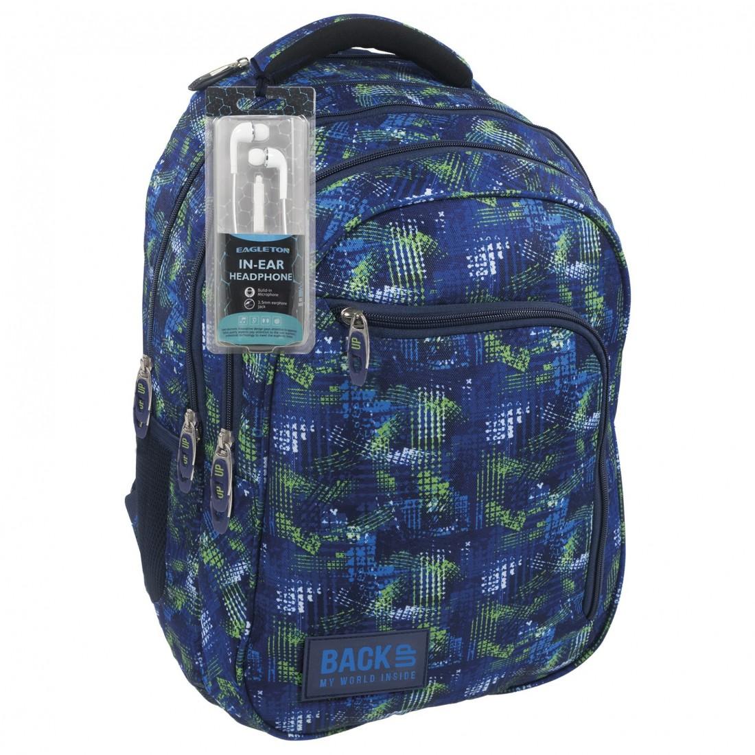 24e29f13853ba Chłopięcy plecak szkolny w zielono niebieskim motywie. Dodatkowo do plecaka  załączone są zupełnie za darmo słuchawki.