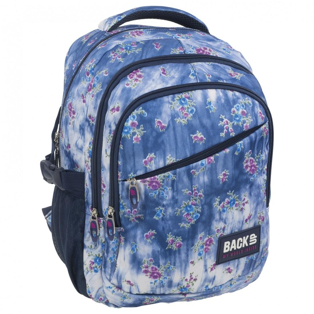 4fc8b26692793 Plecak szkolny dziewczęcy marmurkowy jeans i kwiatki BackUP G 44 ...