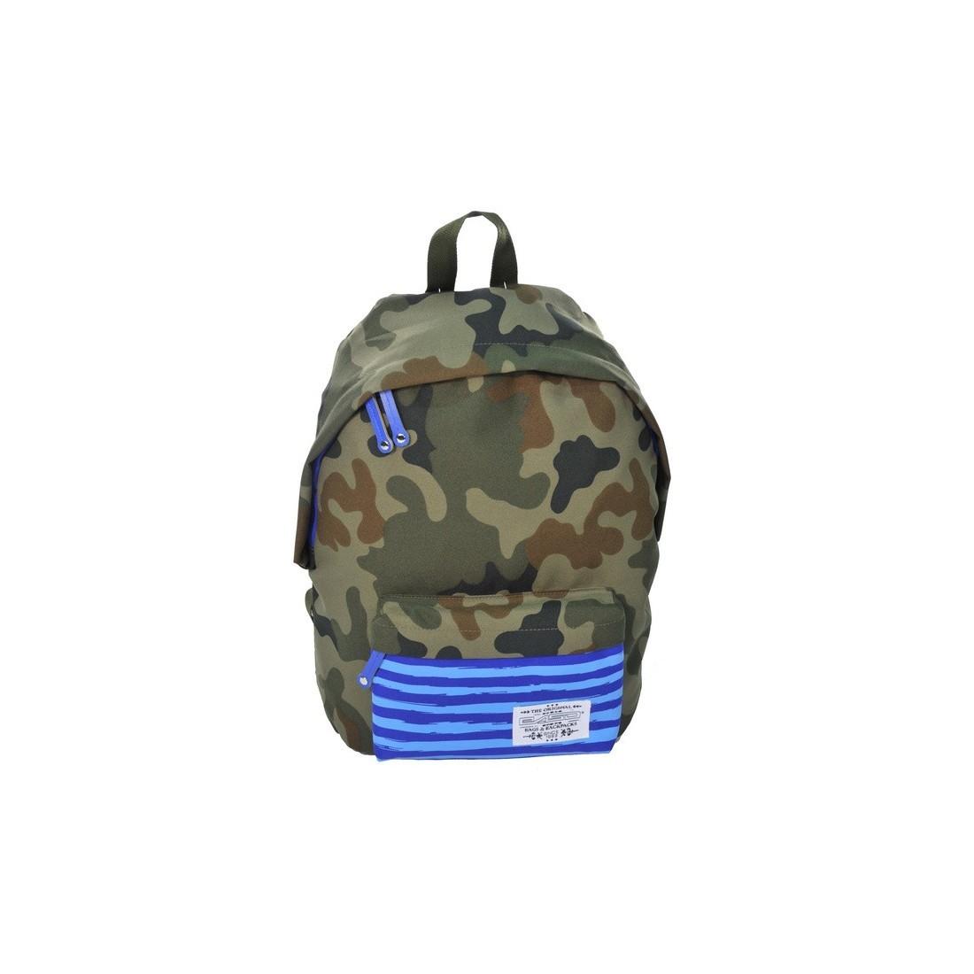 Plecak młodzieżowy Ciemne Moro niebieski w paski - plecak-tornister.pl