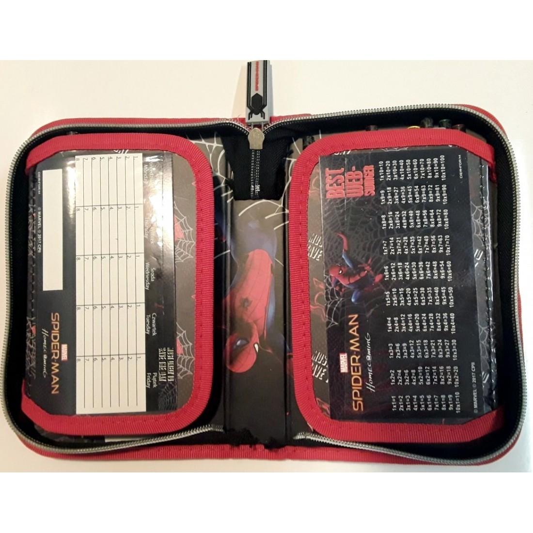 98744aab45fd8 Piórnik SPIDERMAN z wyposażeniem rozkładany czarny - plecak-tornister.pl
