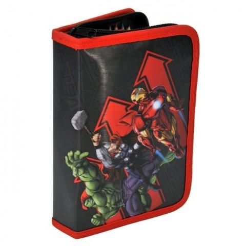 Piórnik z wyposażeniem Avengers czarno-czerwony