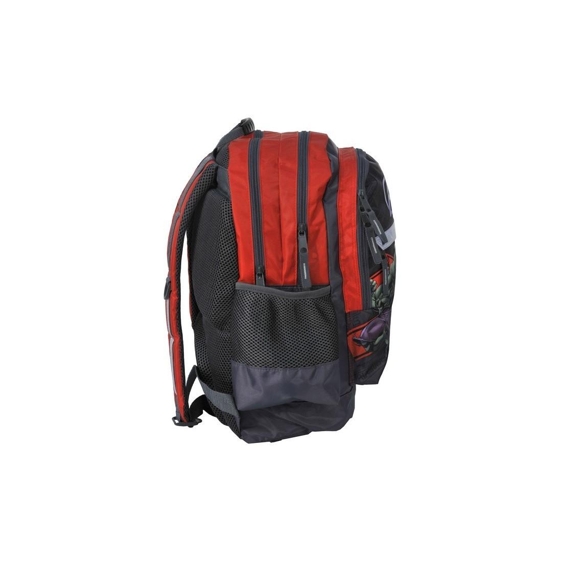 Plecak szkolny Avengers szaro czerwony z odblaskiem - plecak-tornister.pl