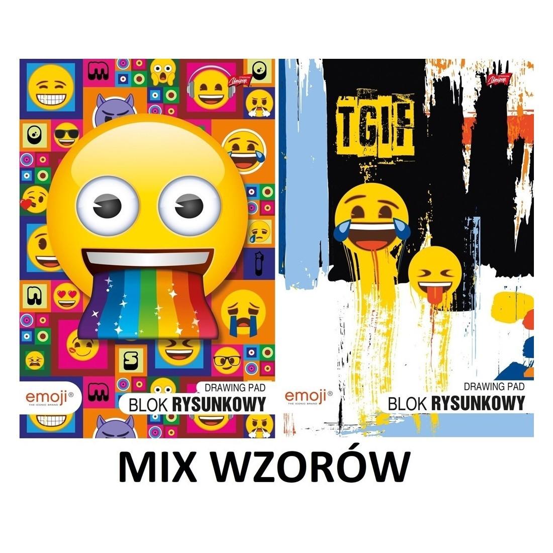 Blok rysunkowy EMOJI w formacie A4 z emotkami MIX WZORÓW - plecak-tornister.pl