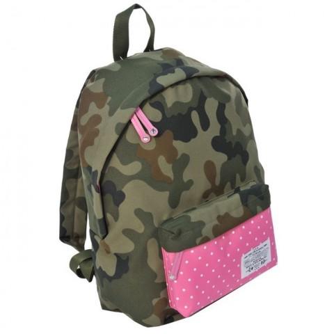 Plecak młodzieżowy Ciemne Moro różowy w kropki