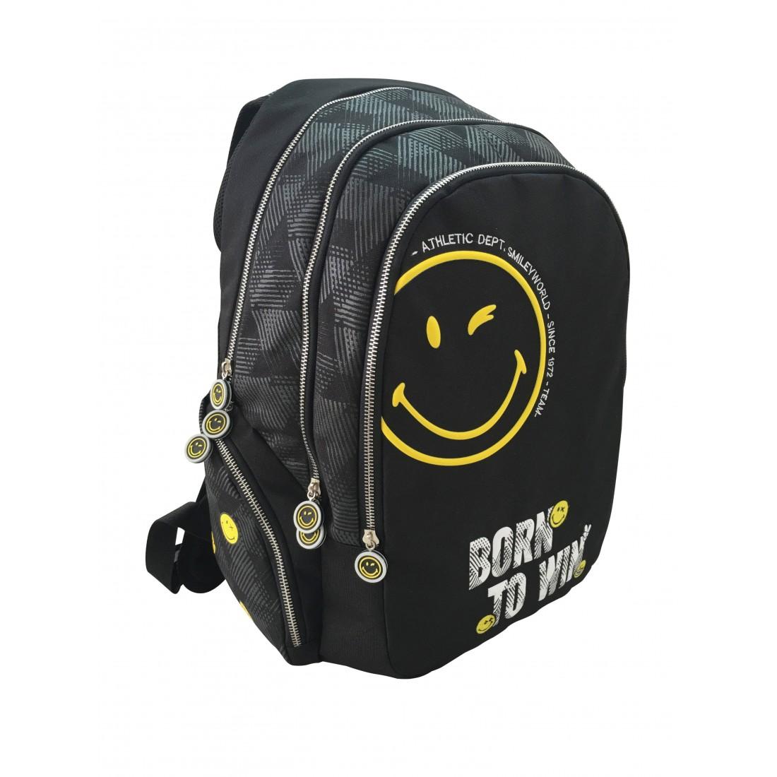Plecak miejski SMILEY WORLD młodzieżowy - czarny, żółta emotka - WINNER - plecak-tornister.pl