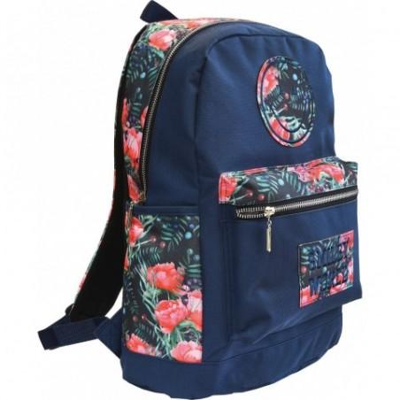 Plecak miejski SMILEY WORLD dla dziewczynki - emotka i róże - granatowy