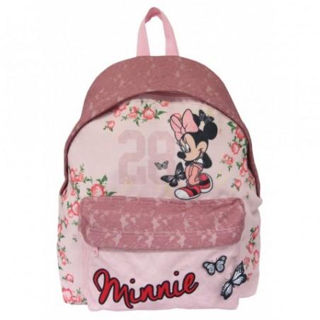 Plecak miejski dla dziewczynki - Myszka Minnie i koronka BOHO różowy