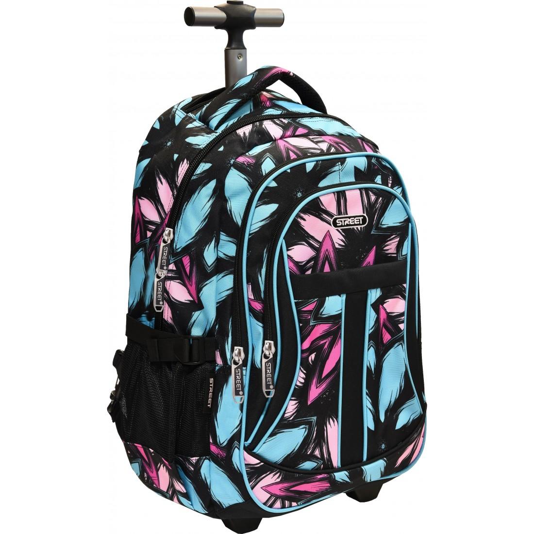 7b96dbdc5c02e Plecak na kółkach w dziewczęcym wzorze w piórka na klasycznym czarnym tle.  Pojemność plecaka około 35l.