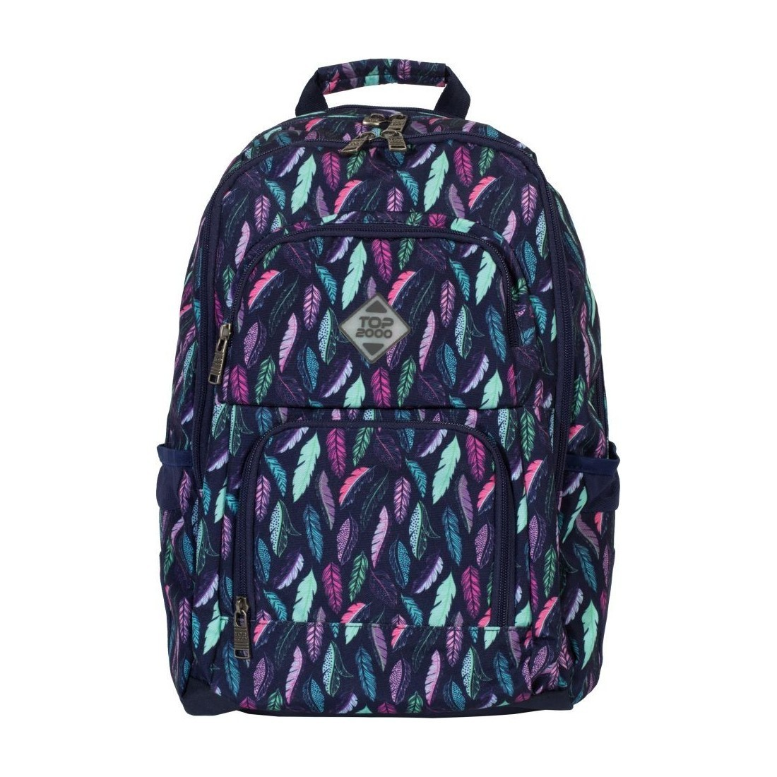 231823f744420 Plecak do szkoły na laptop, miętowe i różowe pióra - Feathers TOP-2000 Zibal