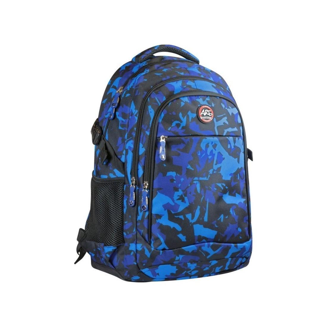 eae3b40ce19 Duży i funkcjonalny plecak szkolny dla chłopców, w modnym wzorze -  granatowe moro.