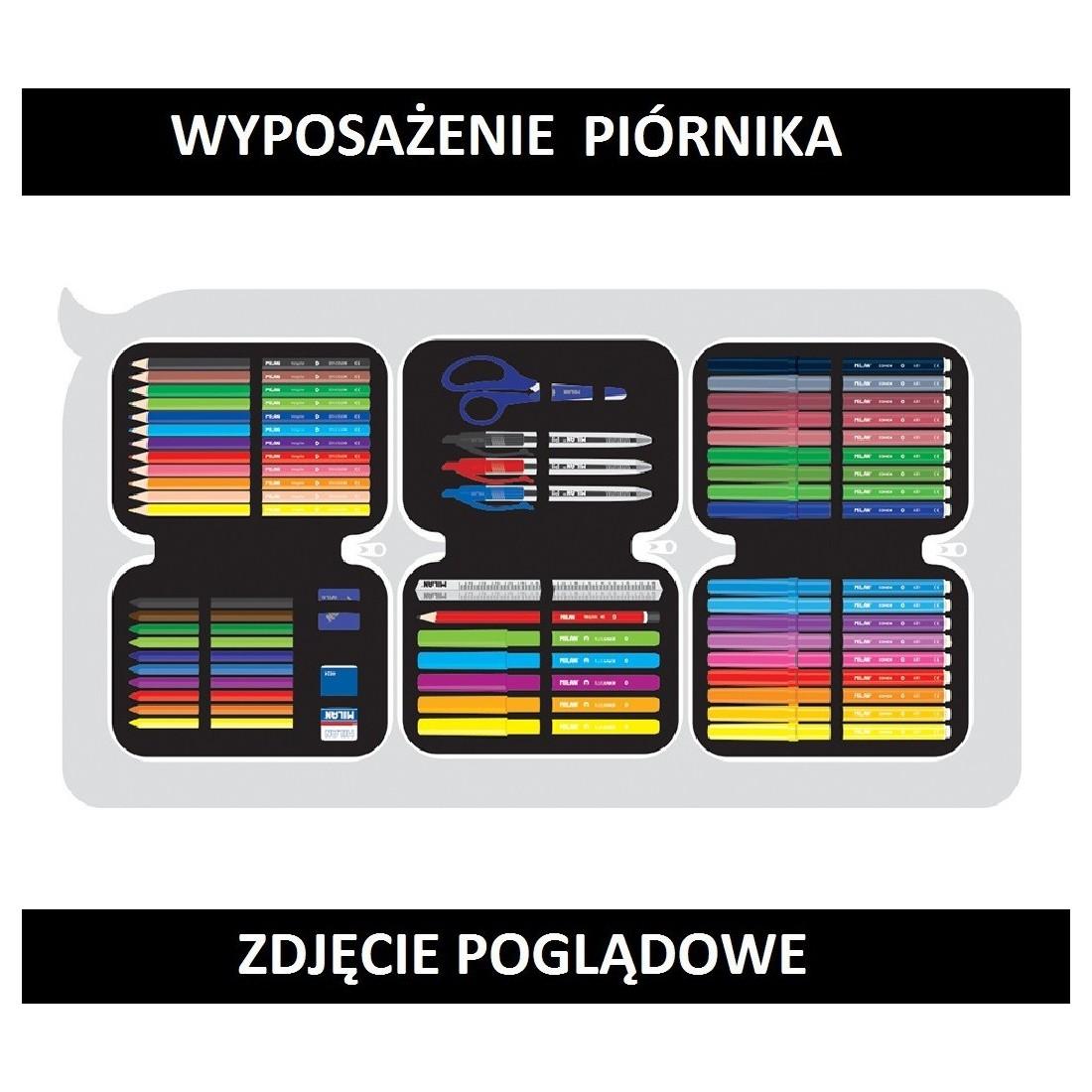 Piórnik MILAN z trzema zamkami z wyposażeniem LITERKI SUPER HEROES - plecak-tornister.pl