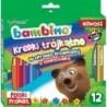 BAMBINO Kredki drewniane trójkątne w 12 kolorach wraz z temperówką - mix wzorów