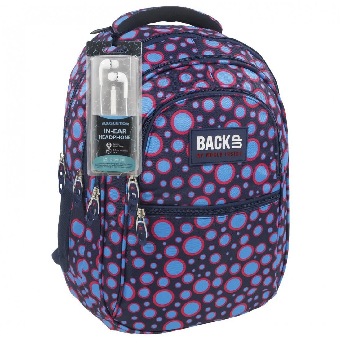 e9b499cbd8f58 Plecak szkolny 4 przegrody dla młodzieży kropki + słuchawki - BackUP B 6