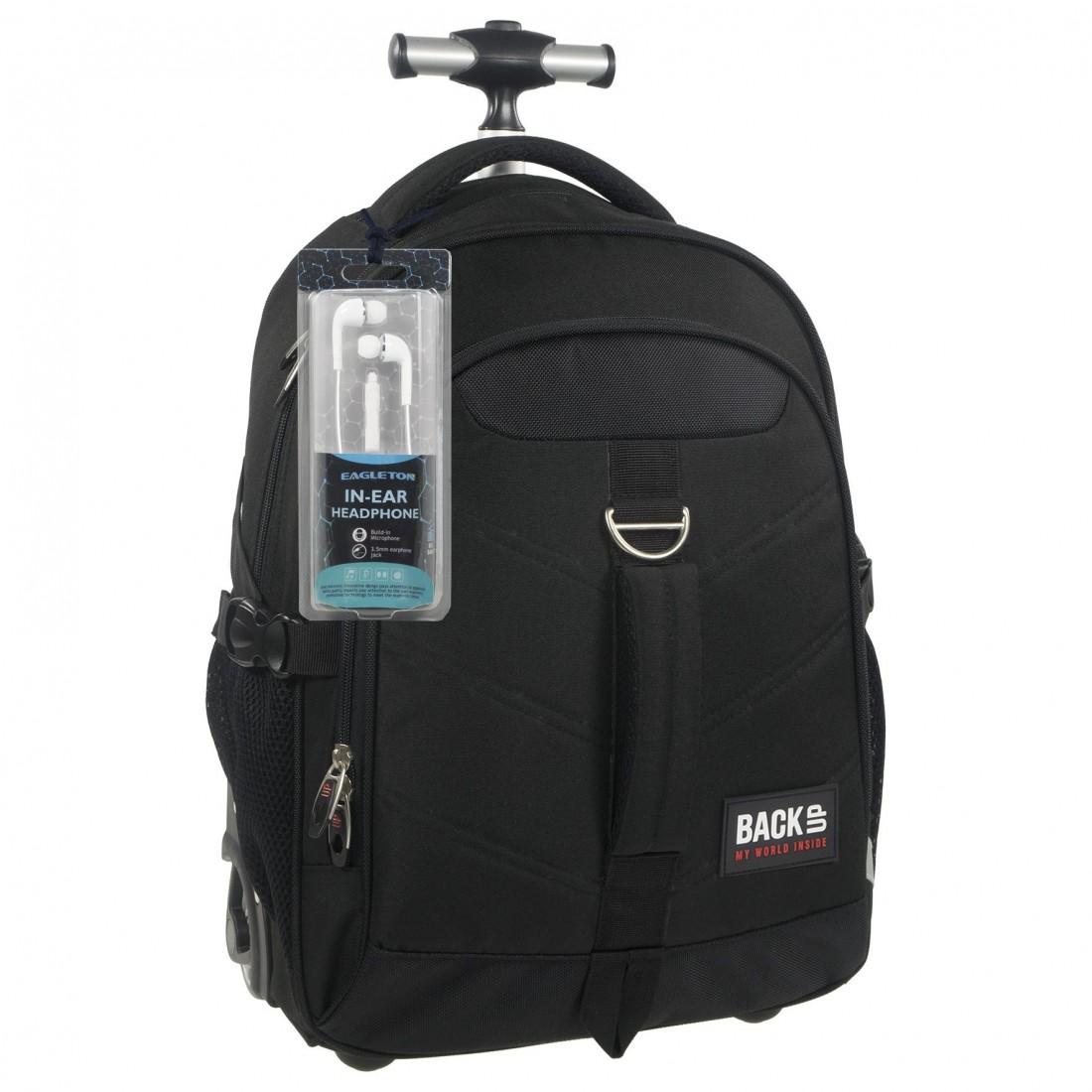 Plecak na kółkach dla chłopaka czarny BackUP K 27 - SŁUCHAWKI gratis - plecak-tornister.pl