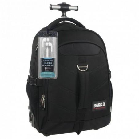 Plecak na kółkach dla chłopaka czarny BackUP K 27 - SŁUCHAWKI gratis