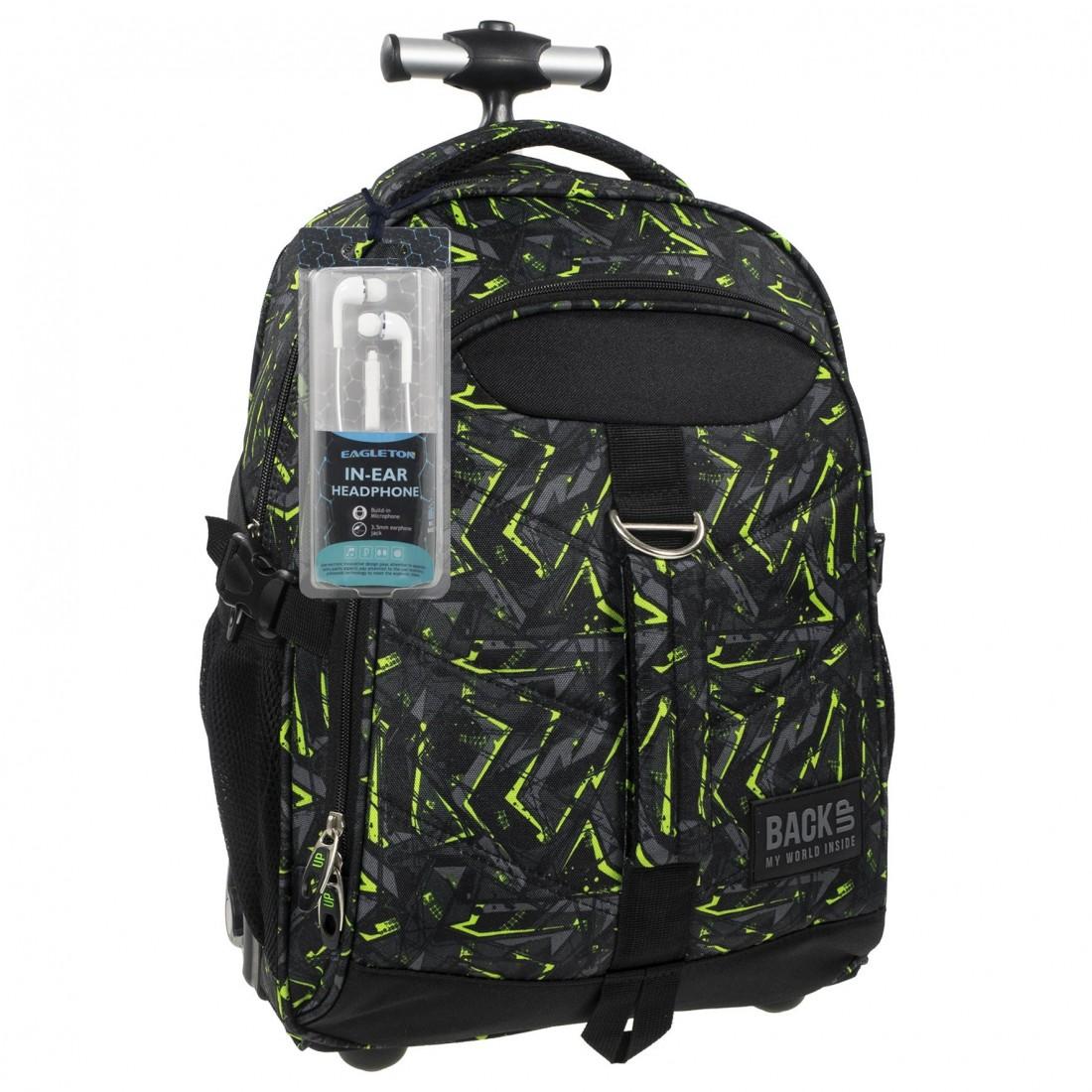 Plecak na kółkach dla chłopaka szary z zielonym BackUP K 31 - SŁUCHAWKI gratis - plecak-tornister.pl